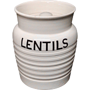 Edwardian White Banded Kitchen Storage Jar ~ Lentils ~ c1920