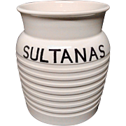 Edwardian White Banded Kitchen Storage Jar ~ Sultanas ~ c 1920