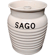 Edwardian White Banded Kitchen Storage Jar ~ Sago ~ c 1920