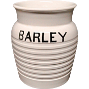 Edwardian White Banded Kitchen Storage Jar ~ Barley~ c 1920