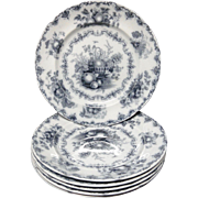 Six Staffordshire Mulberry Transferware Plates ~ FRUIT BASKET 1845