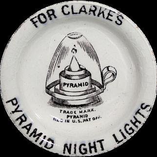 Victorian Transfer Printed Fairy Lamp Night Light c1895 Advertising Stoneware