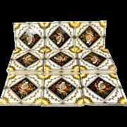 Fifteen Seaweed Victorian Transferware Tiles ~ SEASHELLS 1885