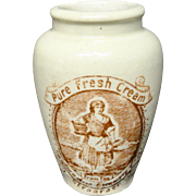 Stoneware Advertising Cream Pot ~ MILKMAID ~ 1880