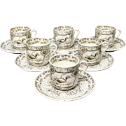 Victorian Brown Transferware 6 Cups and Saucers ~ DEVONSHIRE 1884