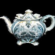 Blue Green Transferware Indian Empire Tea Pot ~ c1894