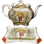 Polychrome Transferware Tea Pot & Stand ~ British Raj ~ Geisha 1894 patent design