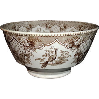 Brown Transferware Waste Bowl  PET PEACOCK  Staffordshire England c1840