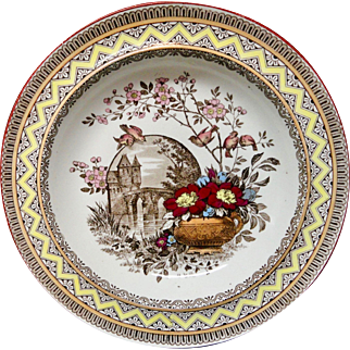 Antique Aesthetic Brown Transferware Rice Plate ~ Edinburg 1882