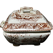 Brown Transferware DAFFODIL Square Tureen ~ 1882