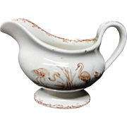 Victorian Brown Transferware Gravy Sauce Pitcher ~ INDUS 1885