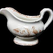 Victorian Brown Transferware Gravy Sauce Pitcher ~ INDUS 1885