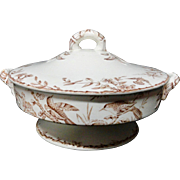 Round Brown Transferware BIRDS Tureen ~ Indus 1885