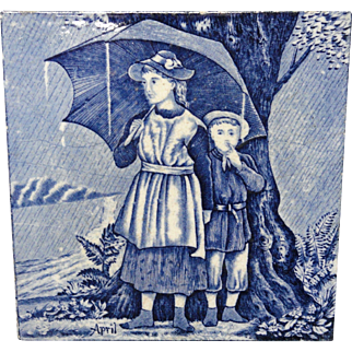 Tile ~ Victorian Wedgwood Months ~ APRIL ~ 1879