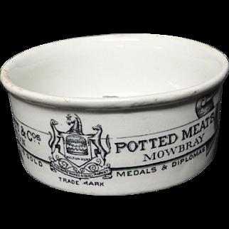 19th Century Victorian Meat Paste Pot 1895