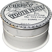 Antique English Pictorial Cherries Tooth Paste Pot 1880