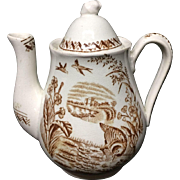 Childs Brown Transfer Printed TeaPot ~ WATER HEN ~ 1890