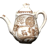 Scarce Brown Aesthetic Transferware Childs Teapot 1890