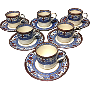 6 ~ Flow Blue Polychrome Demitasse Sets KIOTO Bates Gildea and Walker ~ 1876