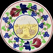Stick Spatter Spongeware Staffordshire Rabbit Plate ~ c1900