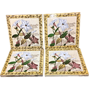Four Victorian Brown Transferware Polychrome Tiles ~ 1885