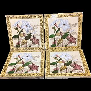 Four Victorian Brown Transferware Polychrome Tiles ~ 1885