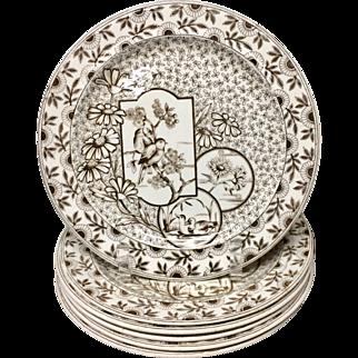 SIX Brown Transferware Plates ~ Devonshire ~ 1885