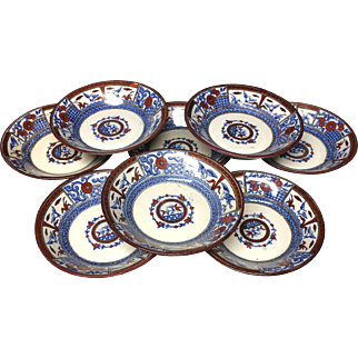 EIGHT Antique Victorian English Polychrome Fruit Bowls ~ KIOTO 1880