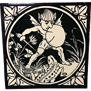 Rare English Minton Tile ~ 1875 ~ Elfins Series Elf Lizard