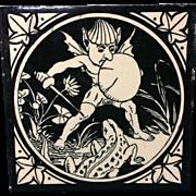 Rare English Minton Tile ~ 1875 ~ Elfins Series Elf Lizard