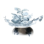 1885 ~ Mulberry Blue Transfer Victorian Raised Tazza or Comport ~ Peaches Currants Strawberries