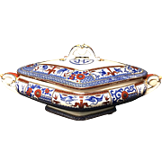 1880 ~ Antique Victorian English Polychrome Tureen ~ KIOTO 1880