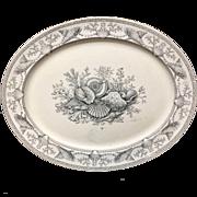 1876 ~ HUGE Black Transferware Clovelly NANTASKET Platter ~ Seaweed Seashells 1876