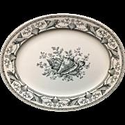 1876 ~ Black Transferware NANTASKET Platter ~ Seaweed Seashells 1876