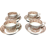 1882 ~ FOUR Cup and Saucer Sets Victorian Brown English Staffordshire ESPRESSO