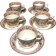 1882 ~ FIVE Tea Cup and Saucer Sets Victorian Brown English Staffordshire
