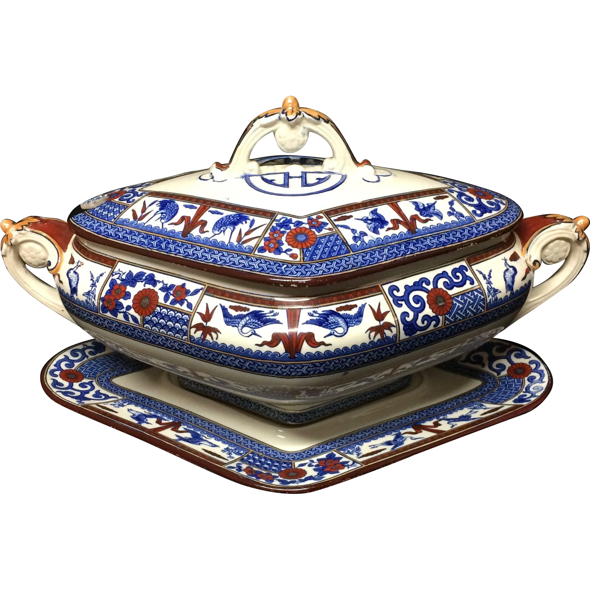 1880 ~ Large Victorian English Polychrome SOUP Tureen & Platter ~ KIOTO 1880