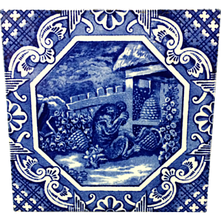 1870 ~ Aesop Fable ~ Bear and Bees Minton Tile