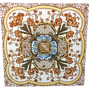 1885 ~ Superb Polychrome Tile ~ Cosmos & Trumpet Jasmine Flowers
