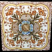 1885 ~ Superb Polychrome Tile ~ Cosmos & Trumpet Jasmine Flowers