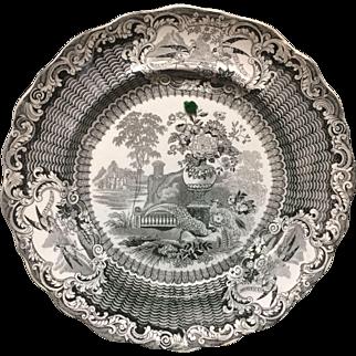 1830 ~ Staffordshire Black Transferware Plate ~ PHEASANT
