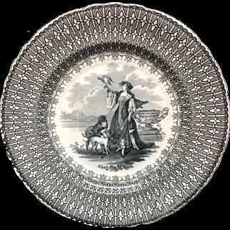 Exceptional Black Transferware Plate ~ Beauties ~ Falconry 1830