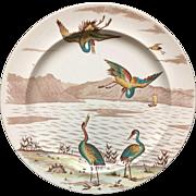 1878 ~ Superb Minton Polychrome EGRETS Cabinet Plate