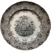 1860 ~ Staffordshire Park Scenery Black Transferware Plate