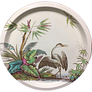 1883 ~ Large Victorian Painted English Charger Platter ~ STORK 1883