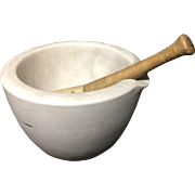 Early American Antique Miniature Stoneware Mortar and Pestle