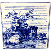 1879 ~ Minton Tile ~ W. P. Simpson ~ Farm Cows Cattle