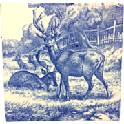 1879 ~ William Wise Transfer Printed Minton Tile ~ Resting Deer