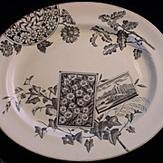 Outstanding Black Aesthetic Transferware Platter ~ 1883