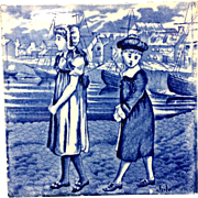 1879 ~ Tile ~ Wedgwood Months ~ JULY ~ Children at the Sea